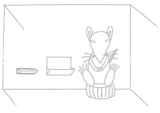 Mindful rat meditating in Skinner Box